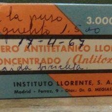 CAJA CON CONTENIDO DE SUERO ANTITETANICO LLORENTE CONCENTRADO, ANTITOXINA, AÑOS 60, MUY RARO