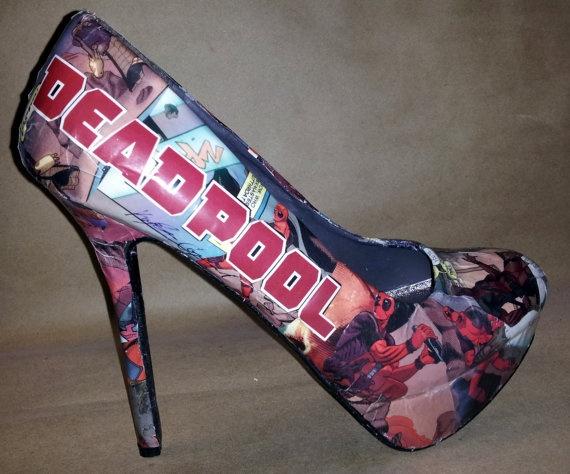 Decoupage Deadpool Comic Book Heels. I want these shooooeeeess!!!!