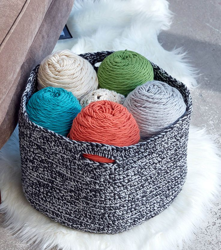 How To Crochet A Double Good Crochet Basket – made with One Pound Caron yarn so …