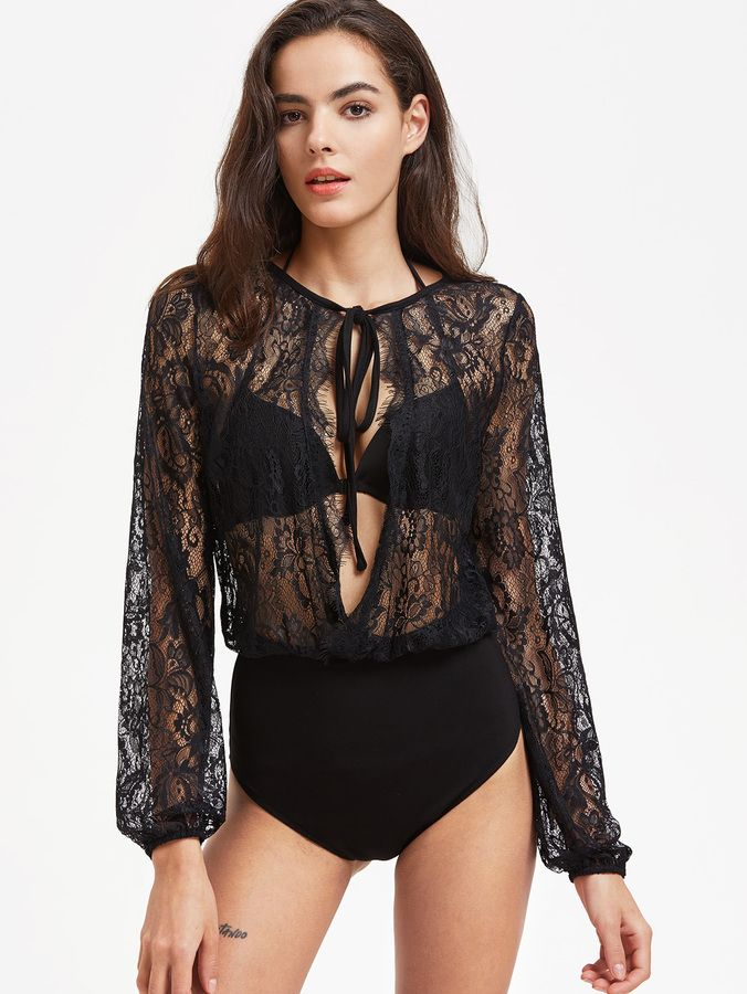 Shein Tied Open Front Sheer Floral Lace Blouse Bodysuit