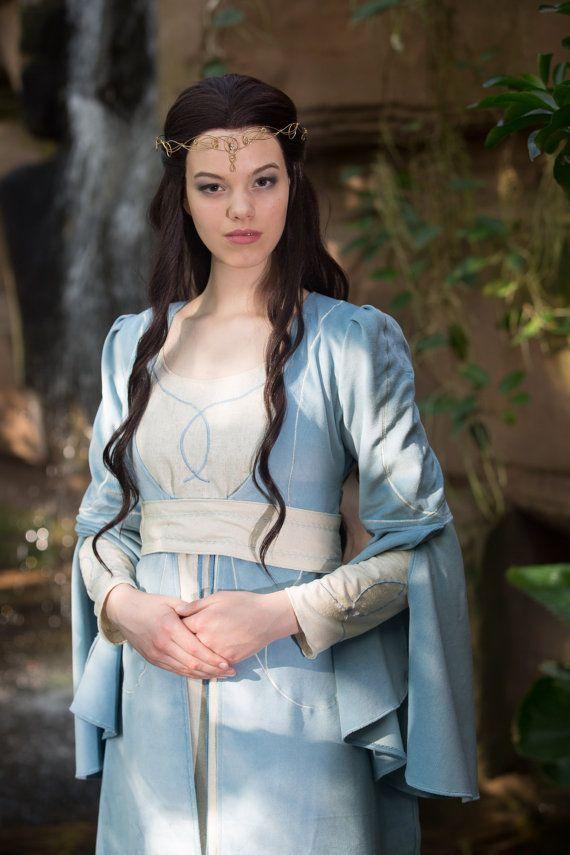 Elfen dress Nemirel, elvish dress, medieval dress, elvish wedding dress, water spirit dress, Size XS-S, one of a kind, Lord of the Rings