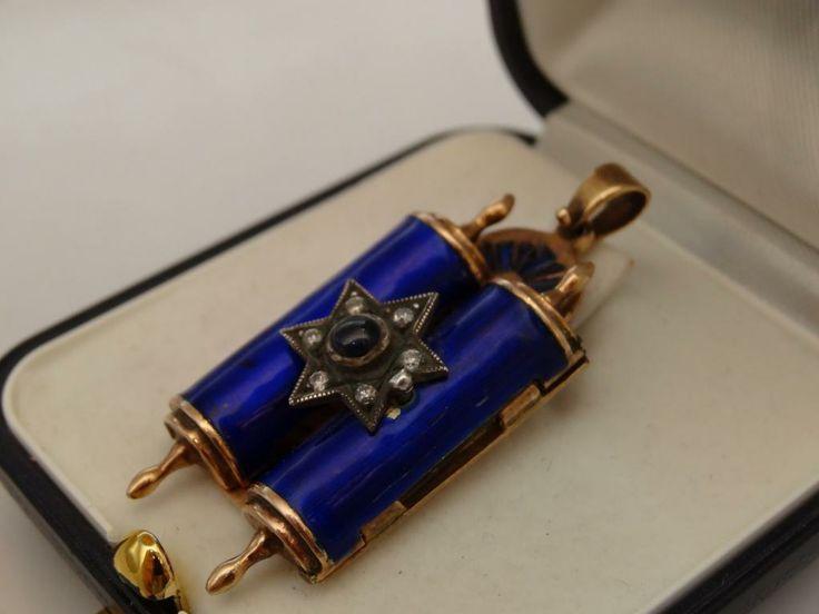 Złoty wisior TORA z brylanty szafir emalia STARY