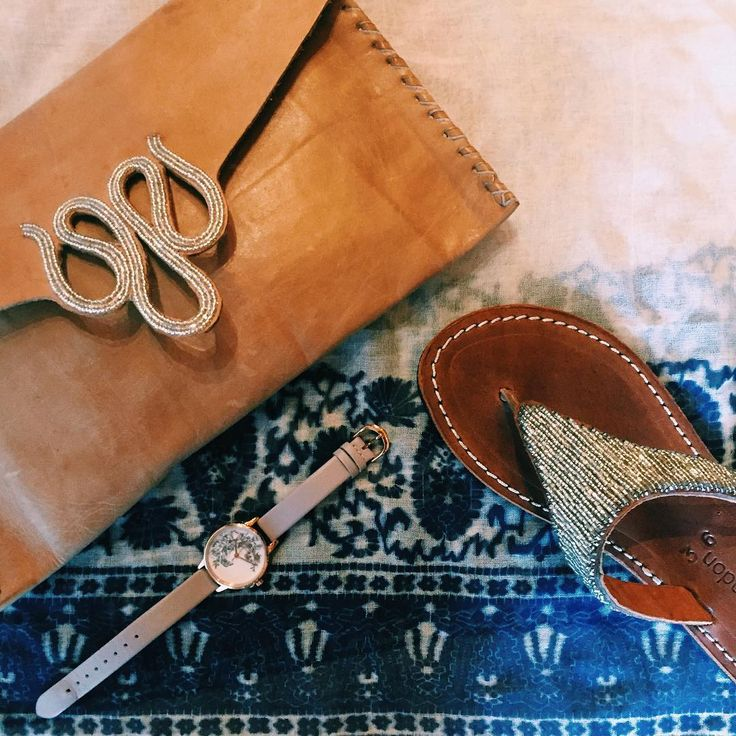 Mombasa artisan inspired clutch / Olivia Burton watch // Beaded sandal