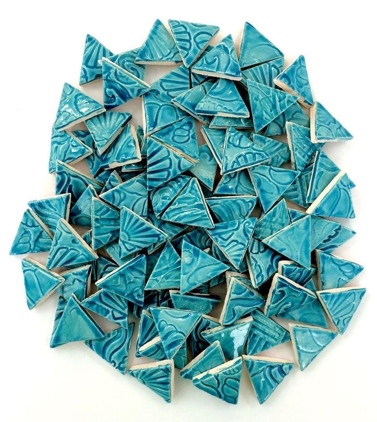 100 Mosaic TURQUOISE CERAMIC Triangles Tiles
