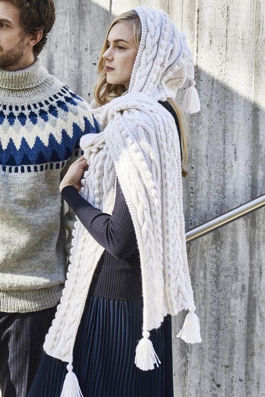 Neulottu huppuhuivi Novita Alpaca Wool | Novita knits