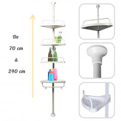 Étagère de douche télescopique 4 tablettes - Étagère d'angle de 70 à 248 cm de haut