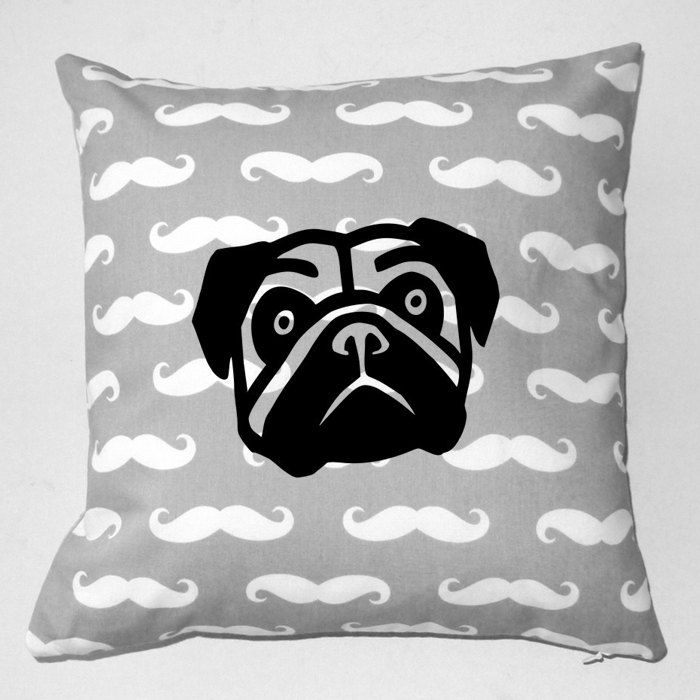 Pug Mops Decorative Gray Pillow Carlino Moustache, Cute Pet Lover Gift, Pug Home Decor by PSIAKREW on Etsy