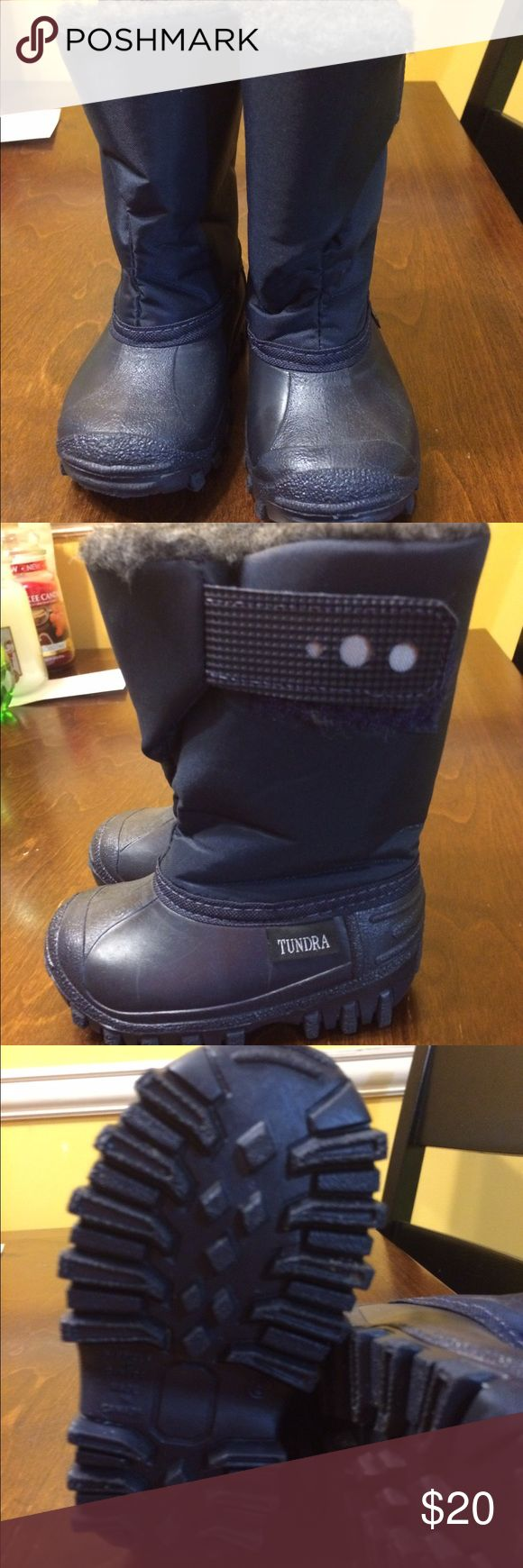 Toddler size 5 Tundra winter boots Navy blue toddler winter boots in perfect like new condition. Worn only twice for a few minutes. Tundra Shoes Rain & Snow Boots