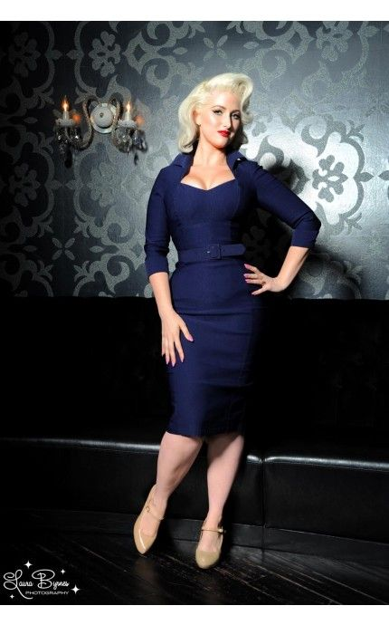 Pinup Couture Lorelei Dress in Navy Faux Bengaline from Pinup Girl Clothing