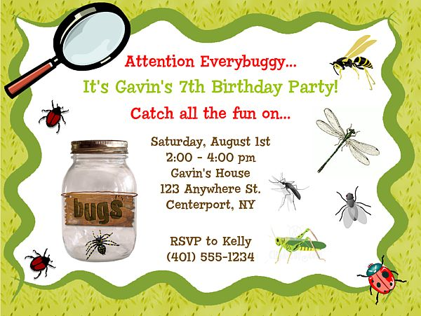 kids bug birthday party invitations | Bugs Insects Nature Birthday Party Invitations
