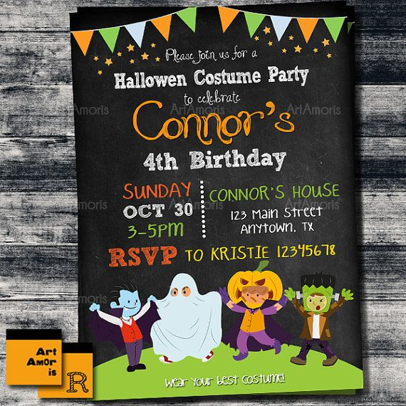 Halloween Invitation Kids Halloween Party Costume by ArtAmoris