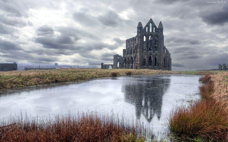 Ruiny, Zamku, Staw, Chmury, Anglia