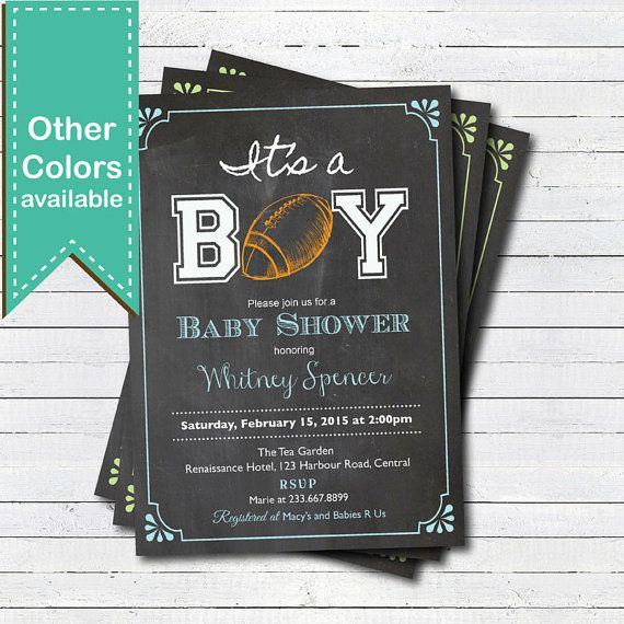American football baby shower invitation. Retro chalkboard it's a boy. American football, rugby, sport theme couple baby shower invite B156