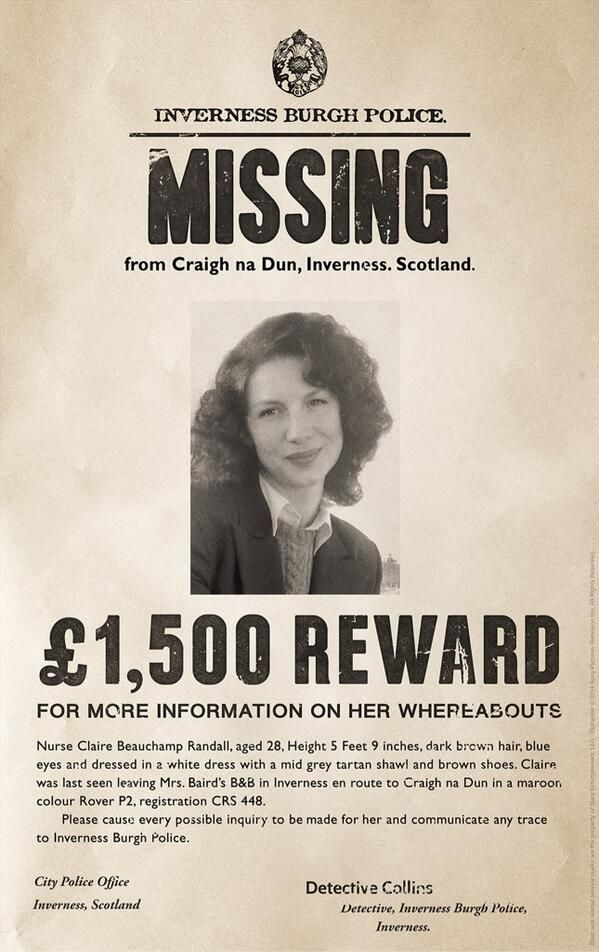 1054 best Outlander! images on Pinterest Jamie fraser, Claire - Funny Missing Person Poster