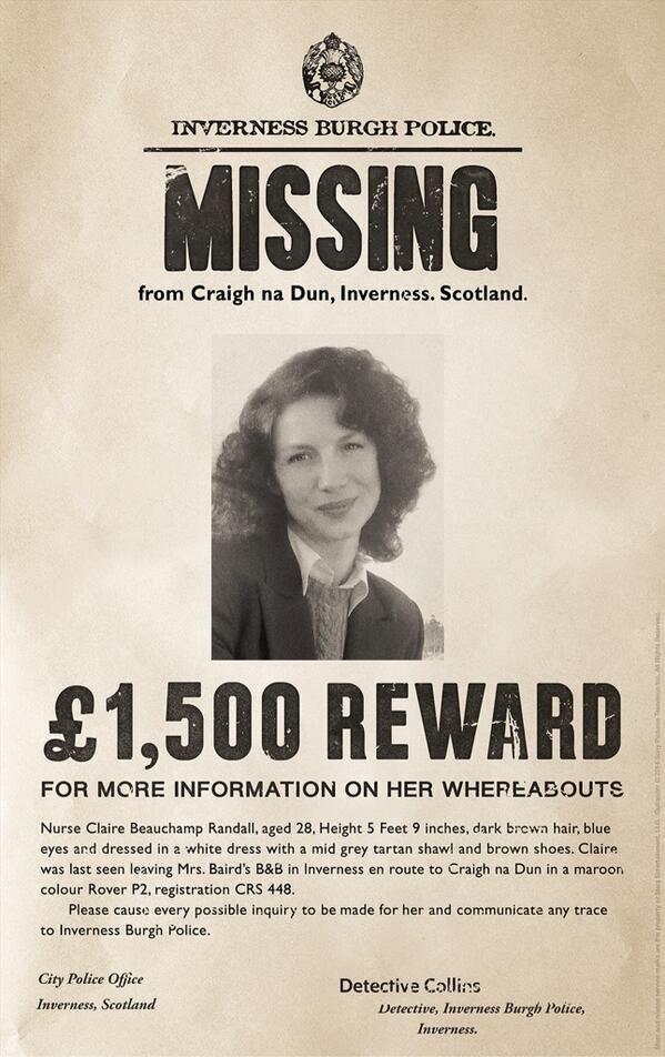 1054 best Outlander! images on Pinterest Jamie fraser, Claire - Funny Missing Person Poster