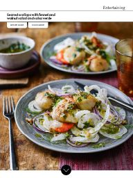"I saw this in ""Seared scallops with fennel and walnut salad and salsa verde"" in Waitrose Food October 2016."