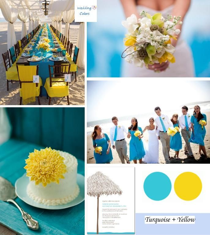 Nice idea, Change to red and.. blue maybe :)  Tropical Turquoise and Yellow Beach Wedding