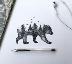 Tattoo Idea: Nature. Bear with art going to the forest and blending with the trees and birds.... stunning.