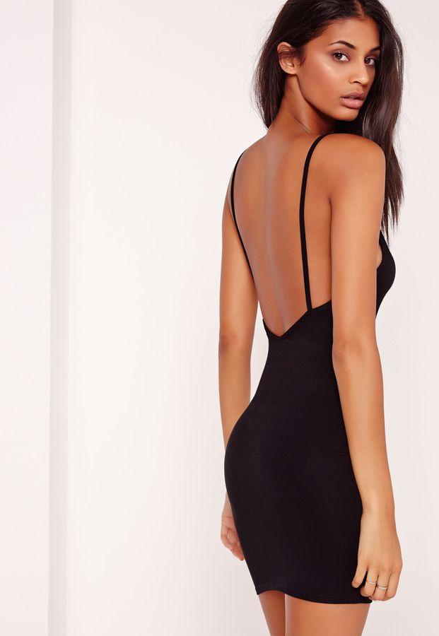 Plunge Strappy Low Back Bodycon Dress Black