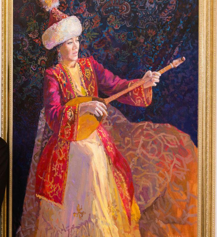 """Kazakh painter Nurlan Abishev. """"Dombra player"""""""