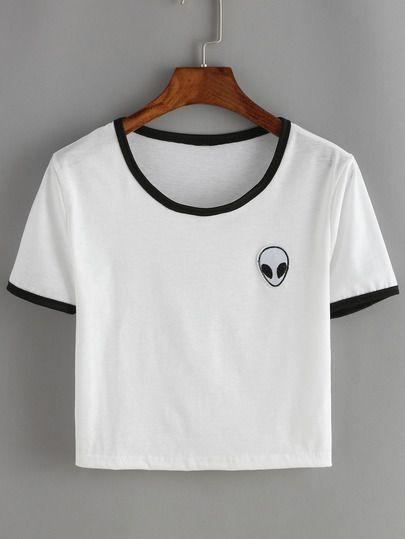 T-shirt court imprimé -blanc
