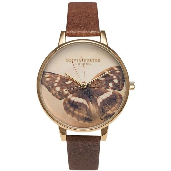 Olivia Burton OB13WL11 Women's Woodland Butterfly Leather Strap Watch,... (150 AUD) ❤ liked on Polyvore featuring jewelry, watches, pin jewelry, brown wrist watch, brown watches, animal watches and olivia burton
