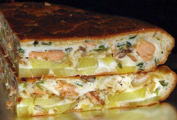 Рыбный заливной пирог с картошкой. Тесто нежное начинка сочная