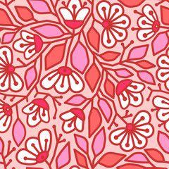 Розовый бесшовный фон с белыми цветами и розовыми листьями с красной контурной линией.