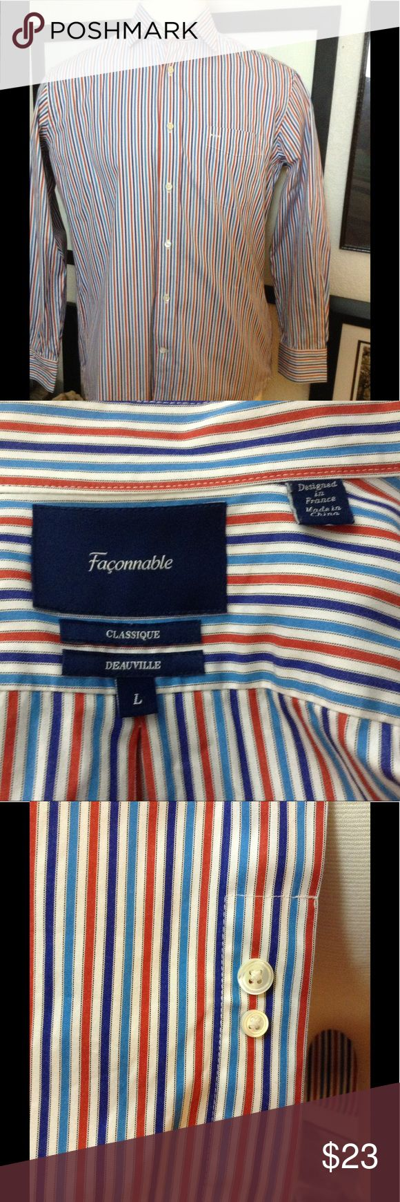 """Faconnable dress shirt Striped red, blue, white, Spread collar, long sleeve with button cuffs, classic fit, cotton, measures: 24""""across front chest seam to seam, 25"""" sleeve length, 31"""" length shoulder to hem Faconnable Shirts Dress Shirts"""