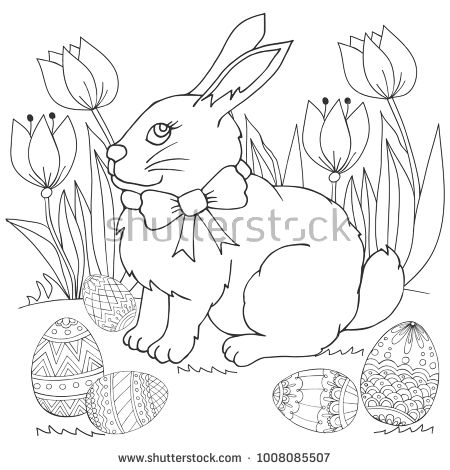 Easter Bunny in flowers  with Easter eggs. Coloring page, illustration