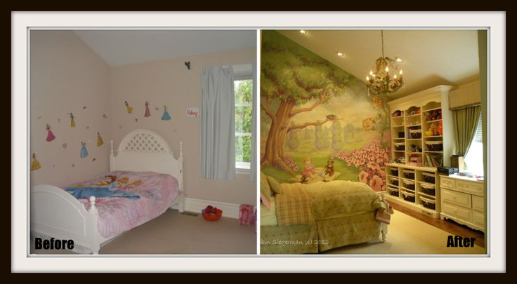 My client's little girl's #bedroom went from drab to fab with a mural and built in shelving! RenovationBootcamp.com