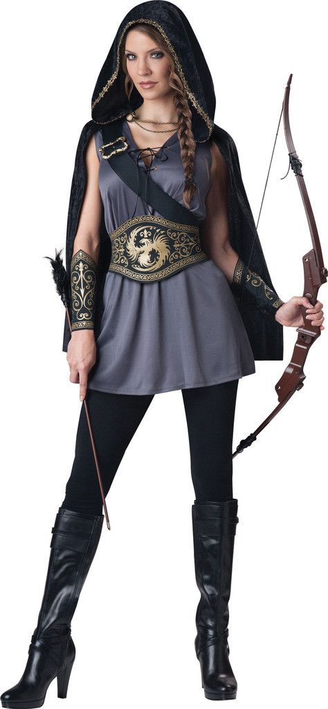 Huntress Adult Costume This costume includes hooded cape, tunic dress, gauntlets and belt. Does not include leggings, bow or shoes. Weight (lbs) 9.3 Length (inches) 13.5 Width (inches) 11 Height(inche