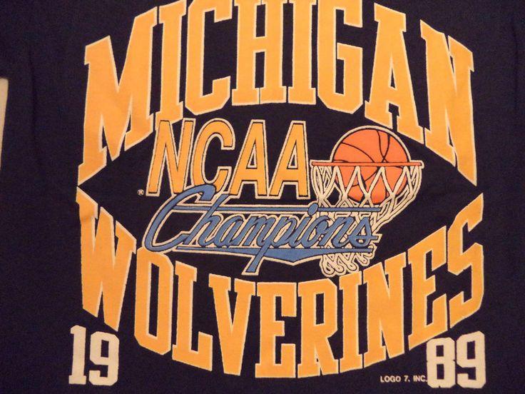 vtg 80s 1989 MICHIGAN WOLVERINES BASKETBALL NCAA CHAMPS t shirt sz M/S NEW NWT #logo7 #MichiganWolverines