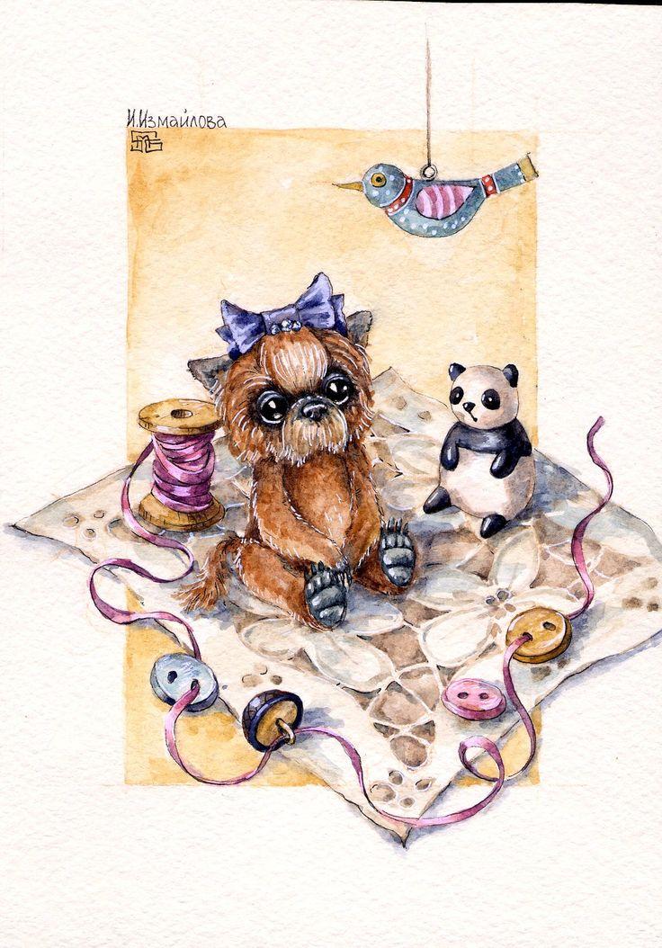 по мотивам работ Александры Милецкой открытка мишки тедди акварель  art watercolor postcard teddy