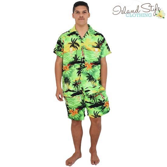 Mens Cabana Set - Mens Hawaiian Shirt and Boardshorts - Green Sunset. Poly/Micro. Luau party, bucks party, stag night, bachelor party, cruise, schoolies, halloween, tacky tourist, loud shirt.