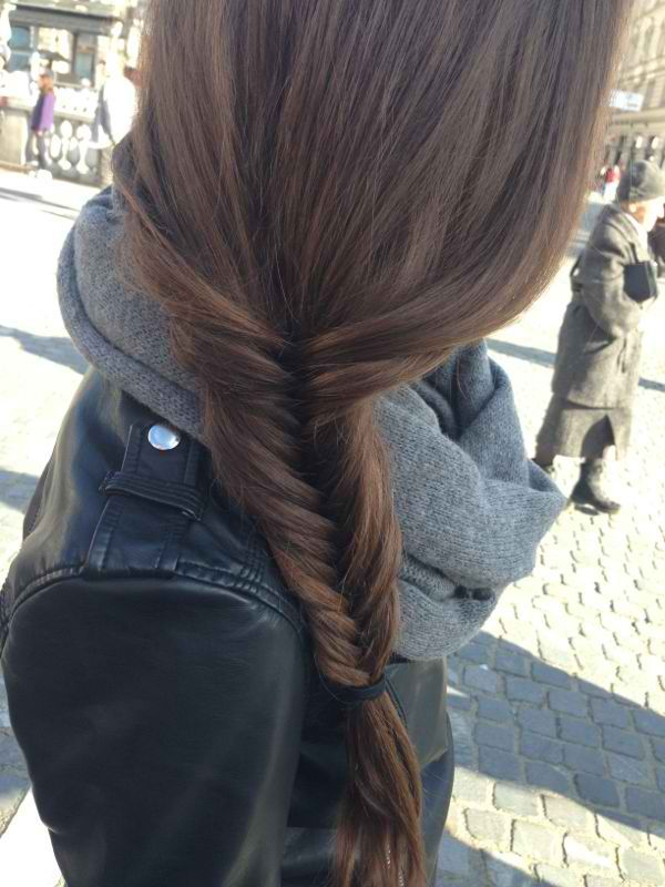 SIde fishtail braids.