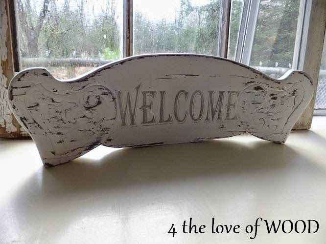 4 the love of wood Old chair transformed into a welcome sign since bottom of chair wasn't salvageable.