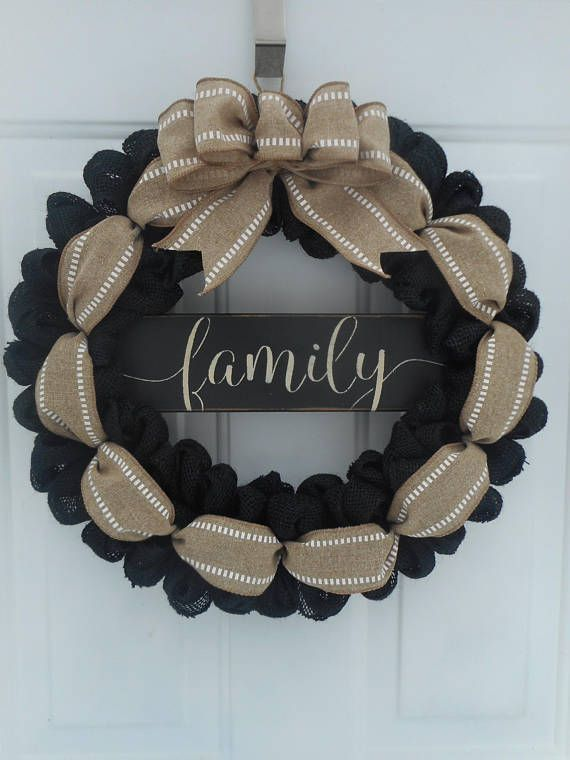 Family Burlap Wreath Family Black Burlap Wreath Housewarming Wreath Wedding Gift Wreath Welco…