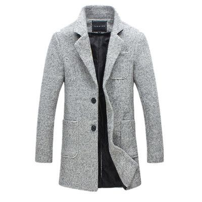 2016 New Fashion Long Trench Coat Men Winter Mens Overcoat 40% Wool Thick Trench Coat Male Jacket