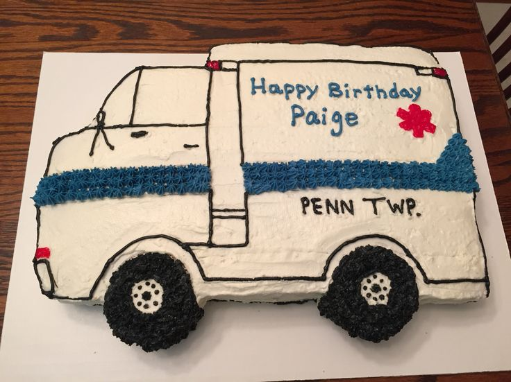 Ambulance cake. Made this for niece's first birthday. She was born in an ambulance on the way to the hospital!