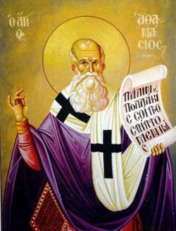St. Athanasius, Roman Catholic Priest. His refusal to tolerate the Arian heresy was the cause of many trials and persecutions for him. Feastday May 2