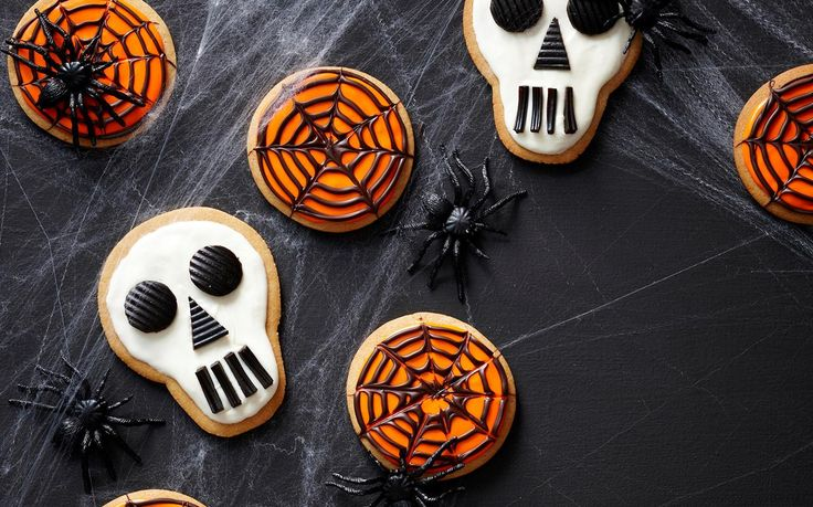 Skull and cobweb cookies recipe - By Woman's Day, These festive skull and cobweb cookies are the perfect addition to this year's Halloween party!