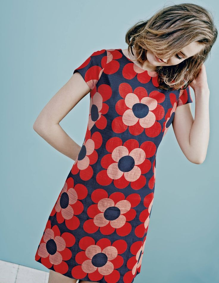 """Boden Harriet Shift Tunic Dress,  new for #AW15. """"Love florals? You need our retro bloom print in stretch textured cotton. This versatile straight shift also comes in a casual cotton-mix denim."""" #NewBritish"""