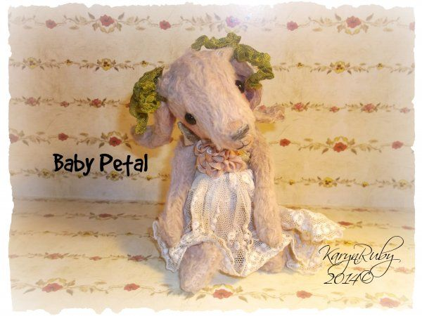 Baby Petal 6 inch Viscose or Mohair Vintage Style Bunny Rabbit $14.00
