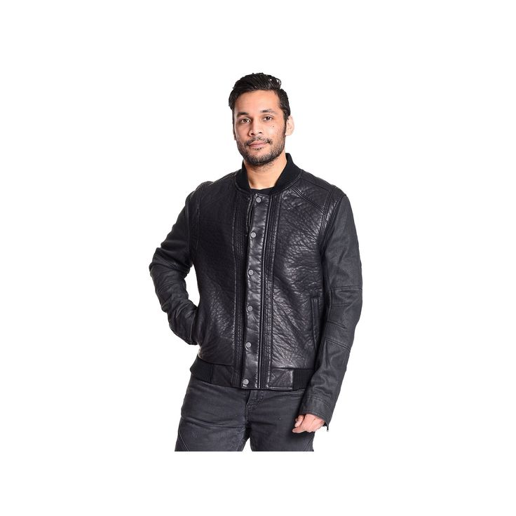 Men's Excelled Faux-Leather Varsity Jacket, Size: Small, Black