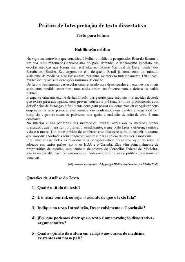 Pratica De Interpretacao De Texto Dissertativo Texto Para Leitura