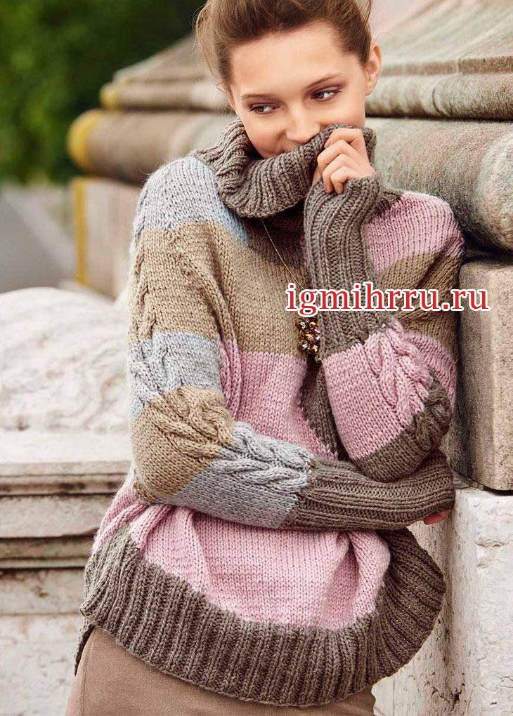 Теплый свитер в пастельных тонах. Вязание спицами