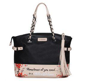 LE PANDORINE Black Handheld Bag. Μαύρη τσάντα χειρός.