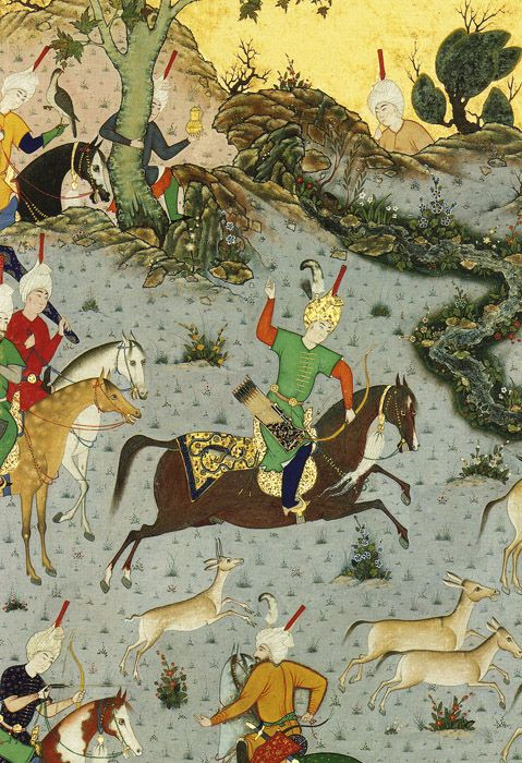 Detail of Bahrain Qur Pins the Coupling Onagers from Shah Tahmasp's Shah-nama (Book of kings),   fol. 568r, by Mir Sayyid Ali, ca. 1533-35.   Tabriz, Persia. Ink, opaque watercolor, and gold on paper.   The Metropolitan Museum of Art, New York