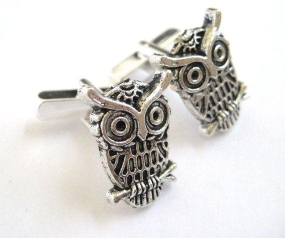 Silver Owl Wedding Cufflinks Mens Gifts Teen by SpotLightJewelry, $19.95